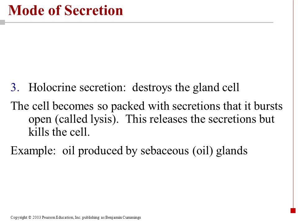 Mode of Secretion Holocrine secretion: destroys the gland cell