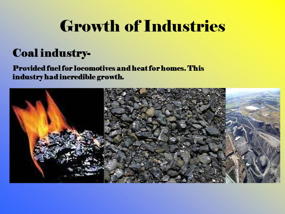 Growth of Industries Coal industry-
