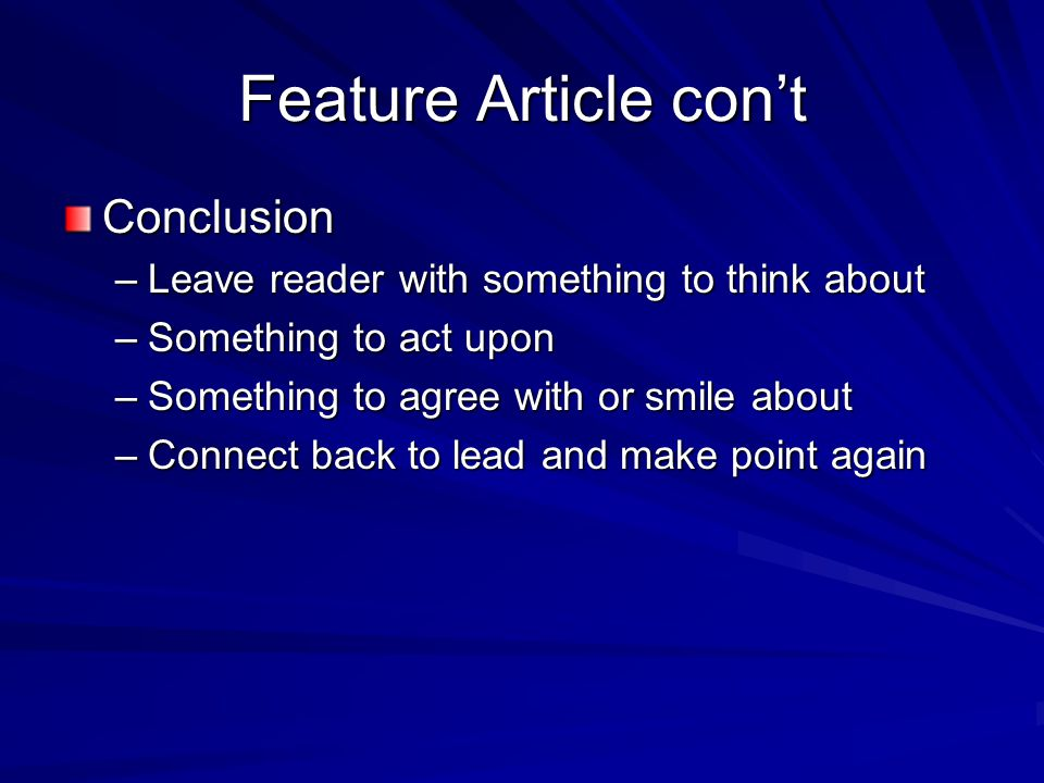 Feature Article con't Conclusion