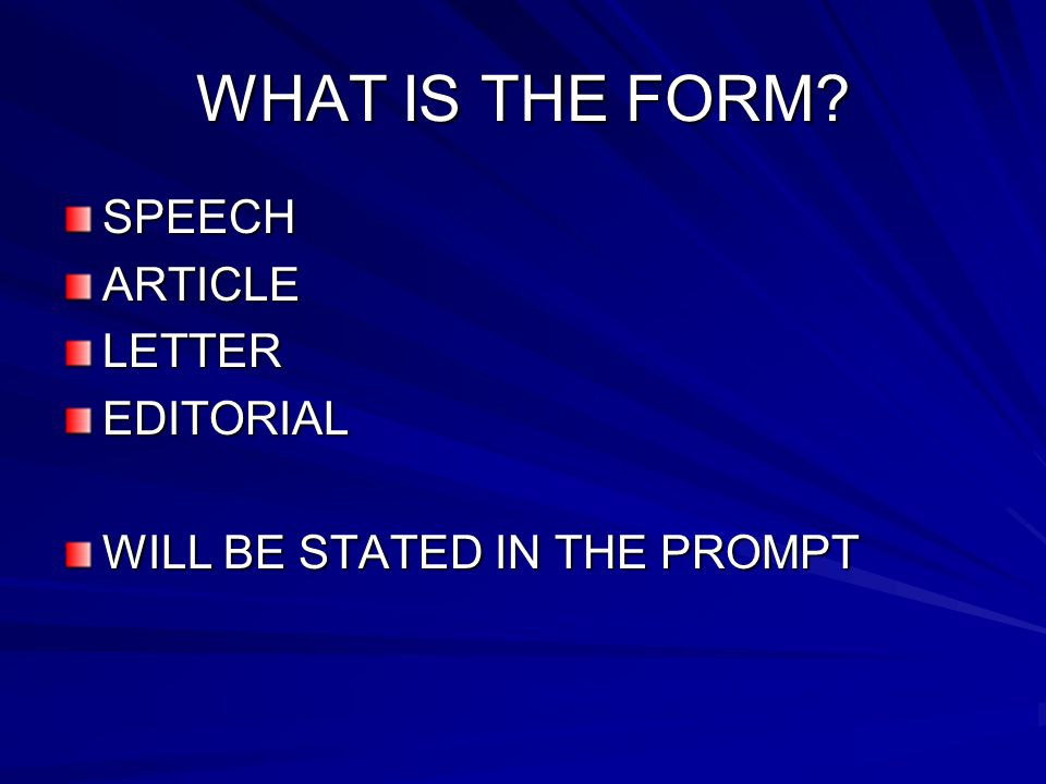 WHAT IS THE FORM SPEECH ARTICLE LETTER EDITORIAL