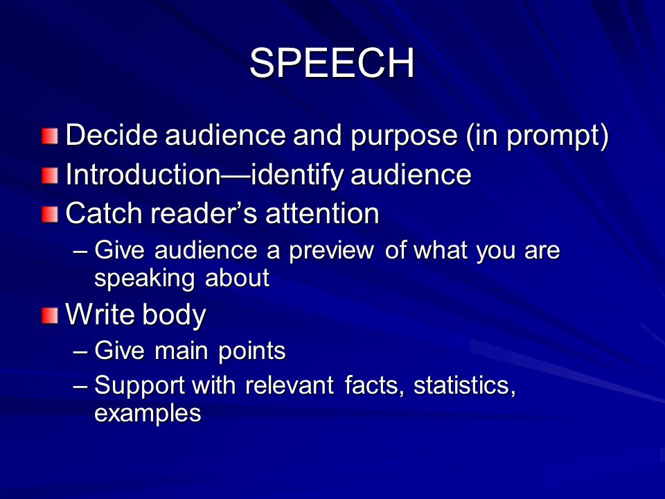 SPEECH Decide audience and purpose (in prompt)