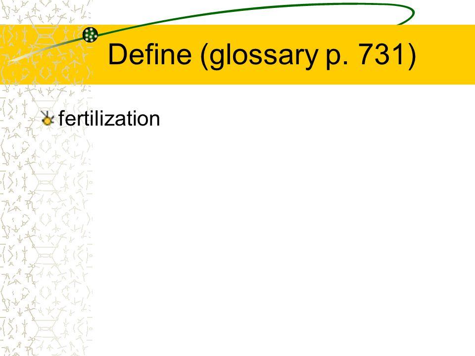 Define (glossary p. 731) fertilization