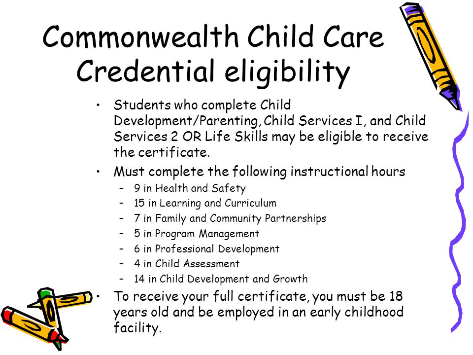 Commonwealth Child Care Credential eligibility