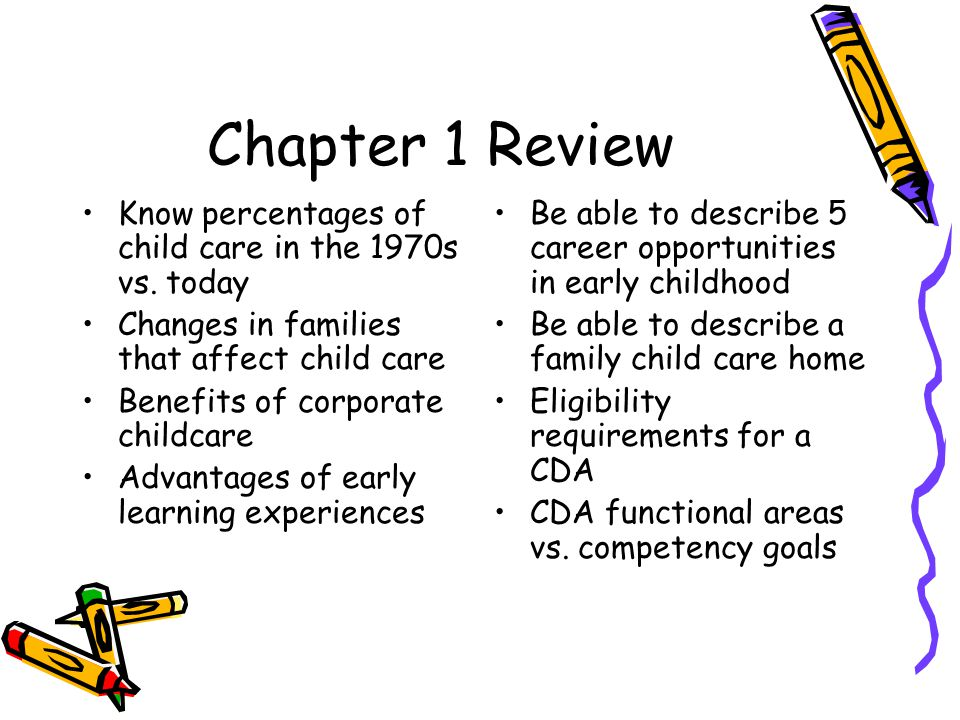 Chapter 1 Review Know percentages of child care in the 1970s vs. today