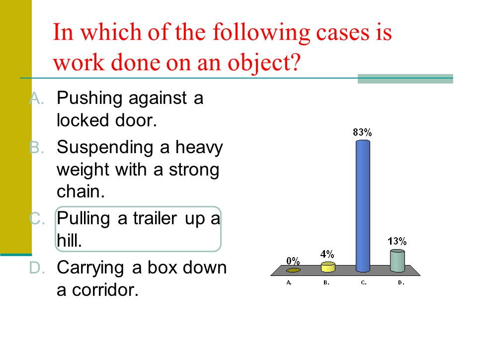 In which of the following cases is work done on an object