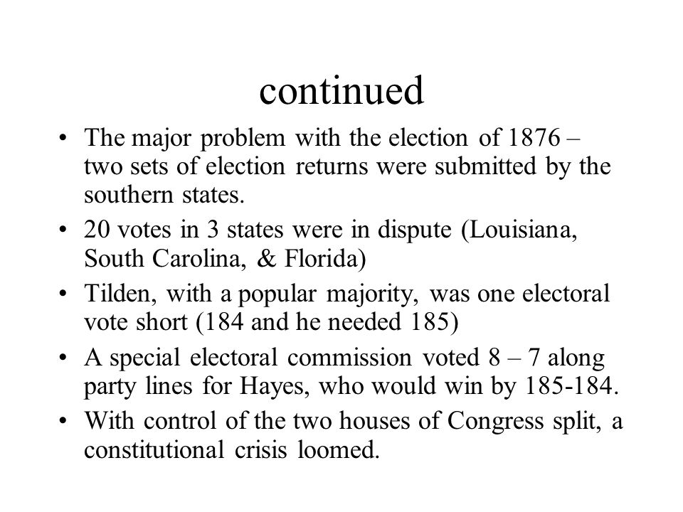 continued The major problem with the election of 1876 – two sets of election returns were submitted by the southern states.