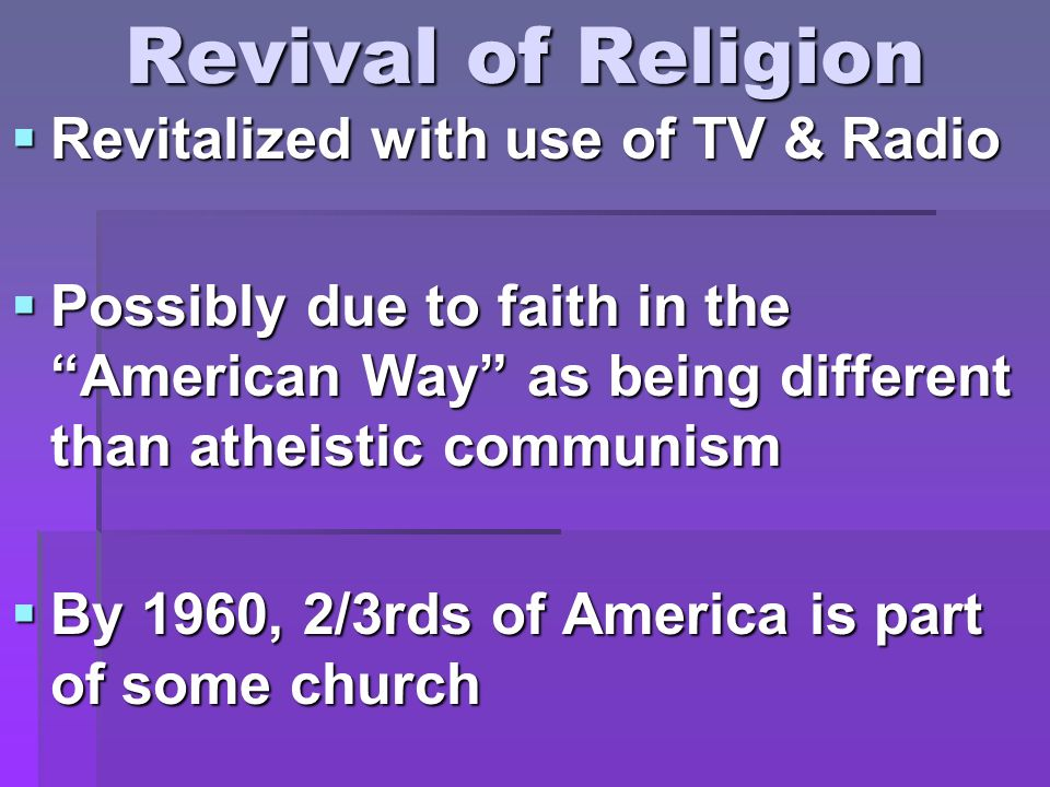 Revival of Religion Revitalized with use of TV & Radio