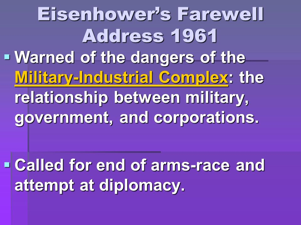 Eisenhower's Farewell Address 1961
