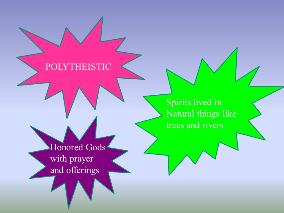 POLYTHEISTIC Spirits lived in Natural things like trees and rivers.
