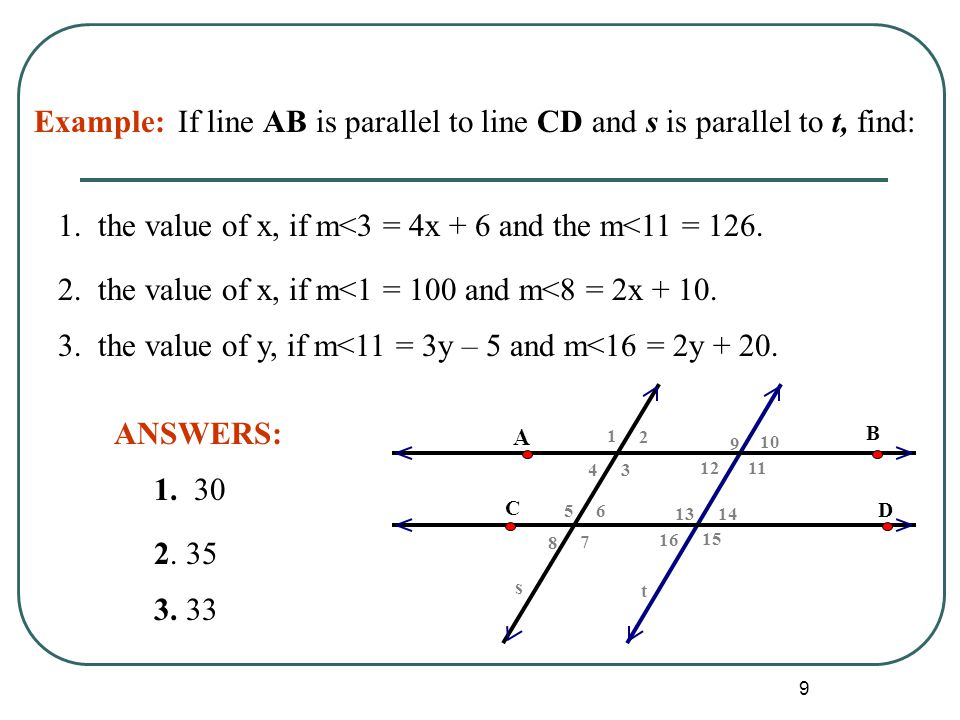 If line AB is parallel to line CD and s is parallel to t, find: