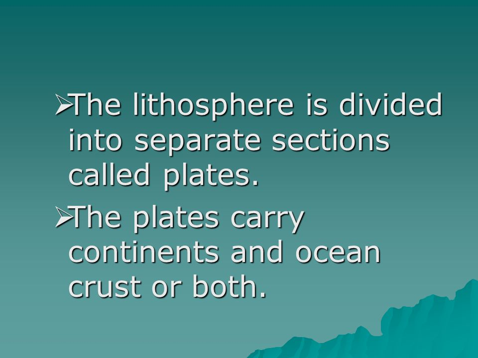 The lithosphere is divided into separate sections called plates.