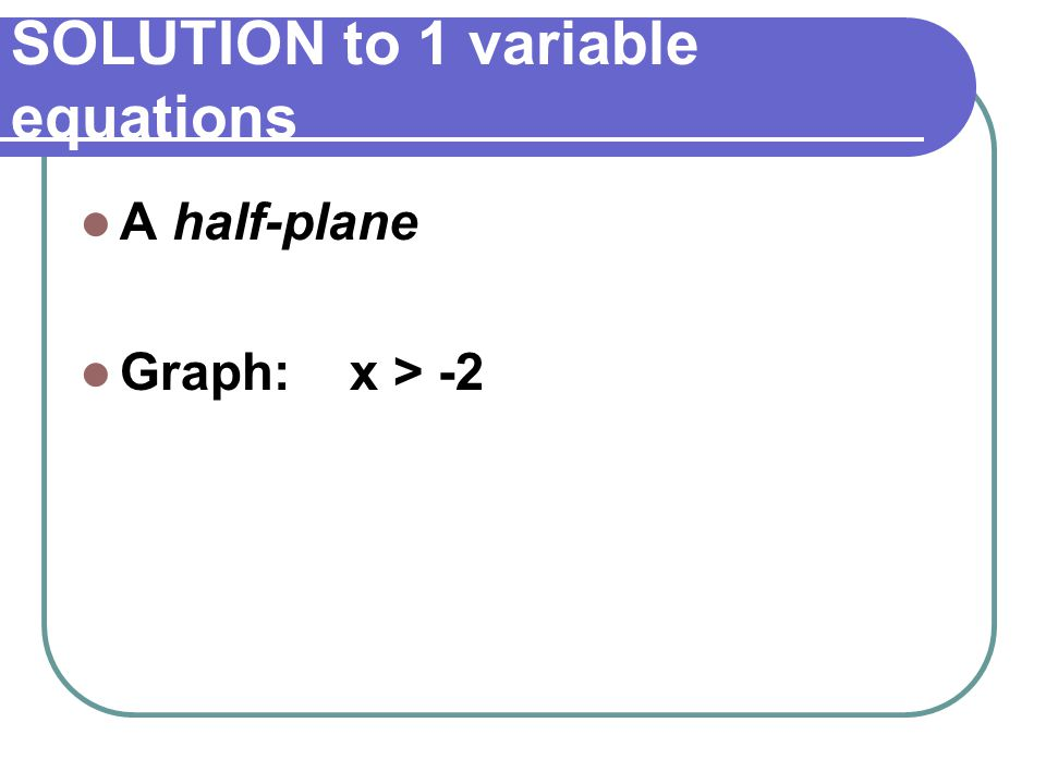 SOLUTION to 1 variable equations