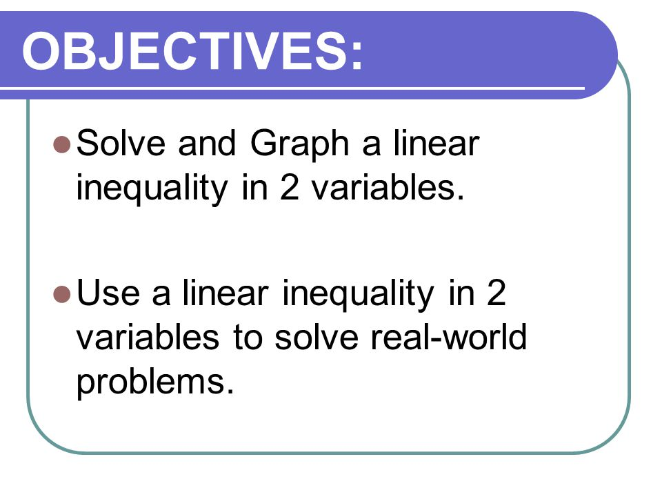 OBJECTIVES: Solve and Graph a linear inequality in 2 variables.