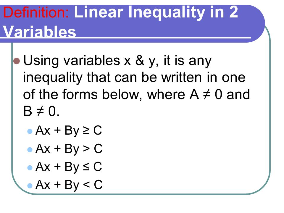 Definition: Linear Inequality in 2 Variables