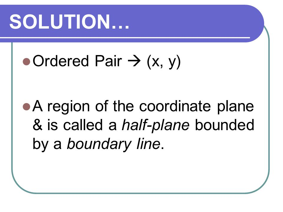 SOLUTION… Ordered Pair  (x, y)