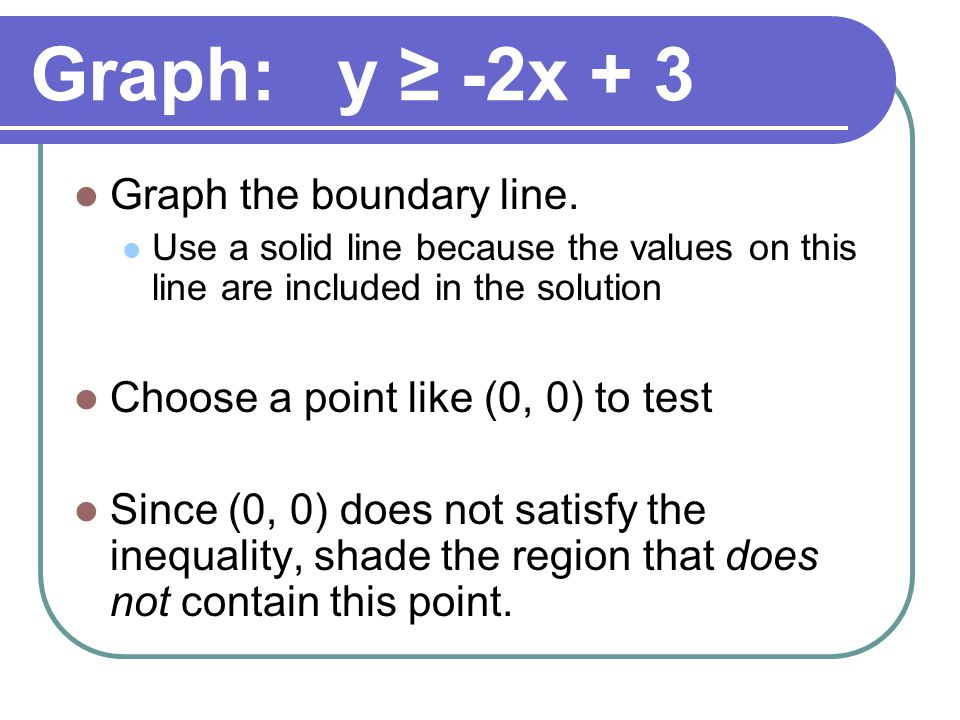 Graph: y ≥ -2x + 3 Graph the boundary line.