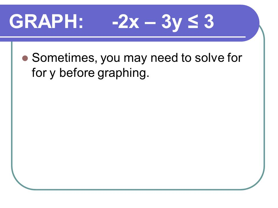 GRAPH: -2x – 3y ≤ 3 Sometimes, you may need to solve for for y before graphing.