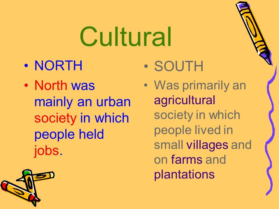 Cultural NORTH. North was mainly an urban society in which people held jobs. SOUTH.