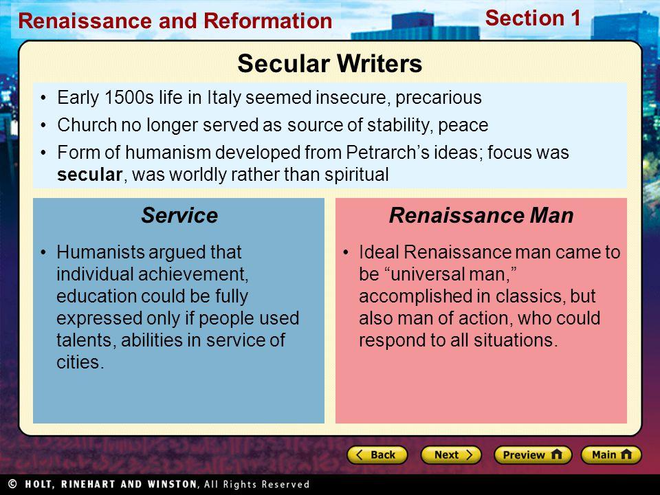 Secular Writers Service Renaissance Man