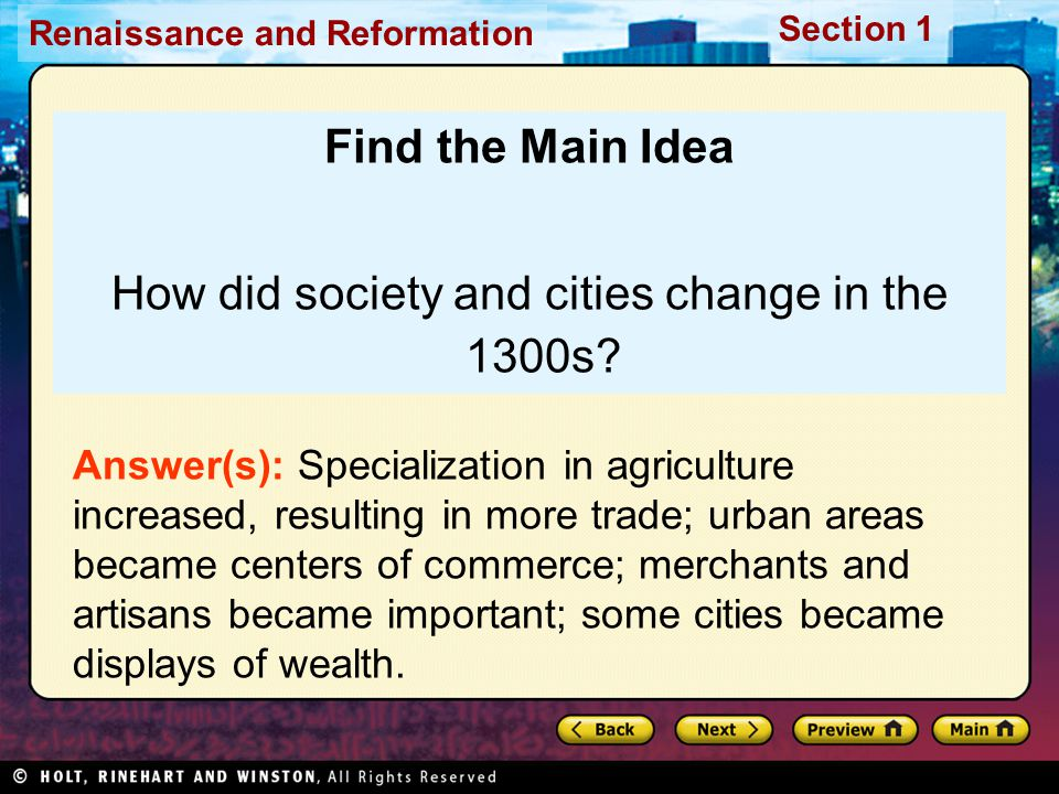 How did society and cities change in the 1300s