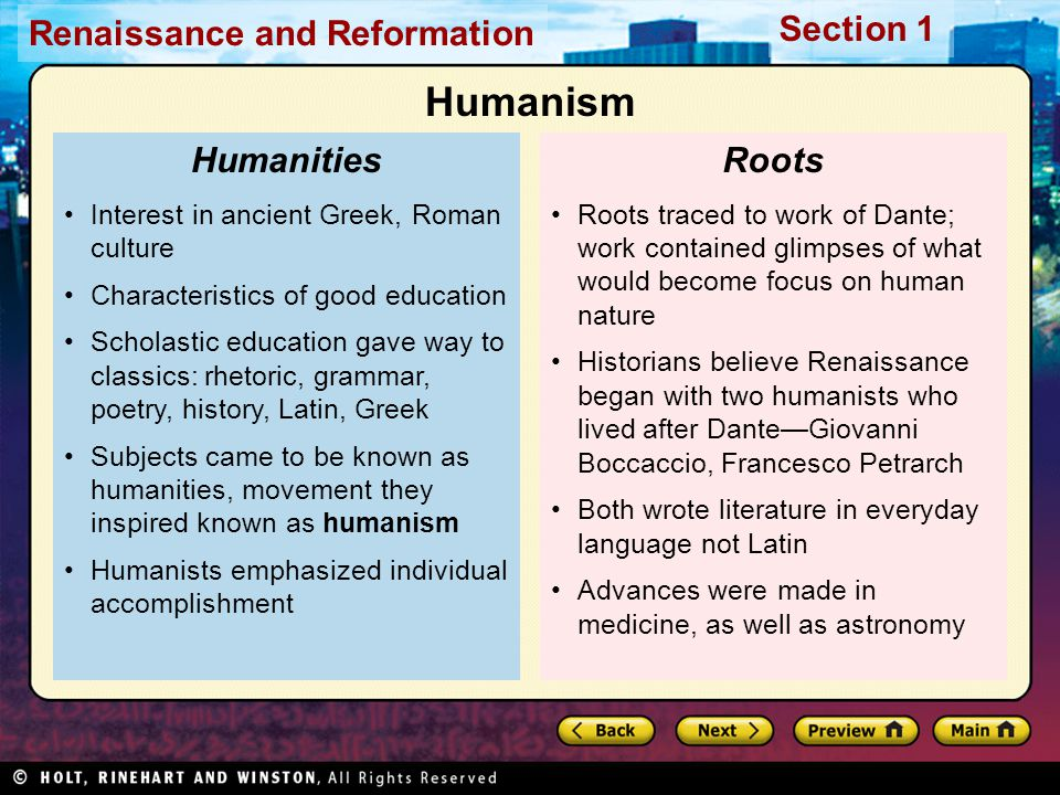 Humanism Humanities Roots Interest in ancient Greek, Roman culture