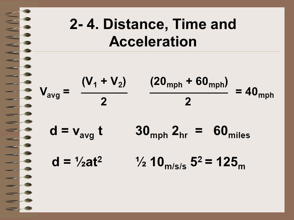 2- 4. Distance, Time and Acceleration