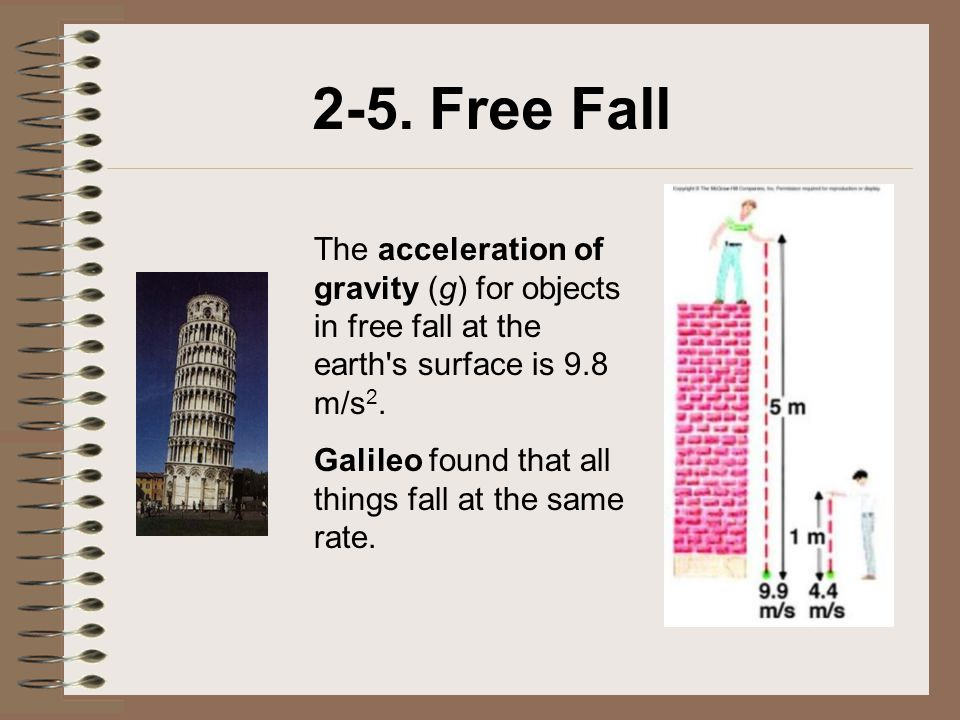 2-5. Free Fall The acceleration of gravity (g) for objects in free fall at the earth s surface is 9.8 m/s2.