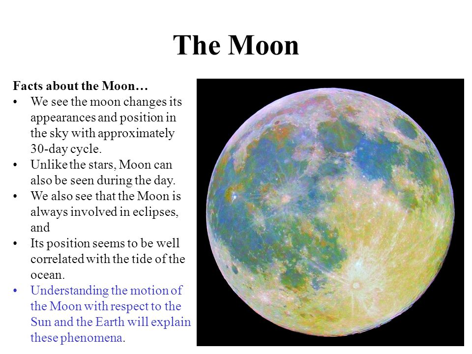 The Moon Facts about the Moon…
