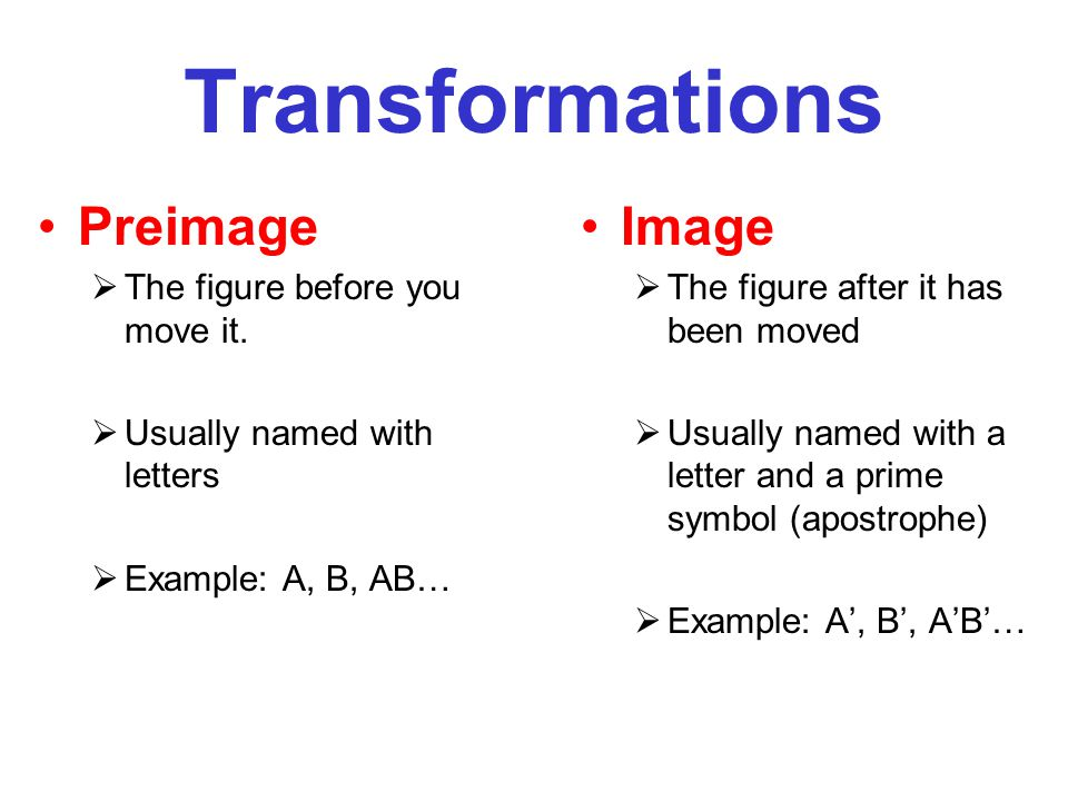 Transformations Preimage Image The figure before you move it.