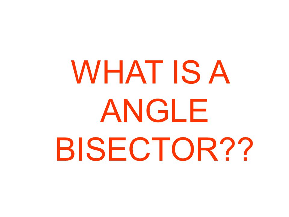 WHAT IS A ANGLE BISECTOR