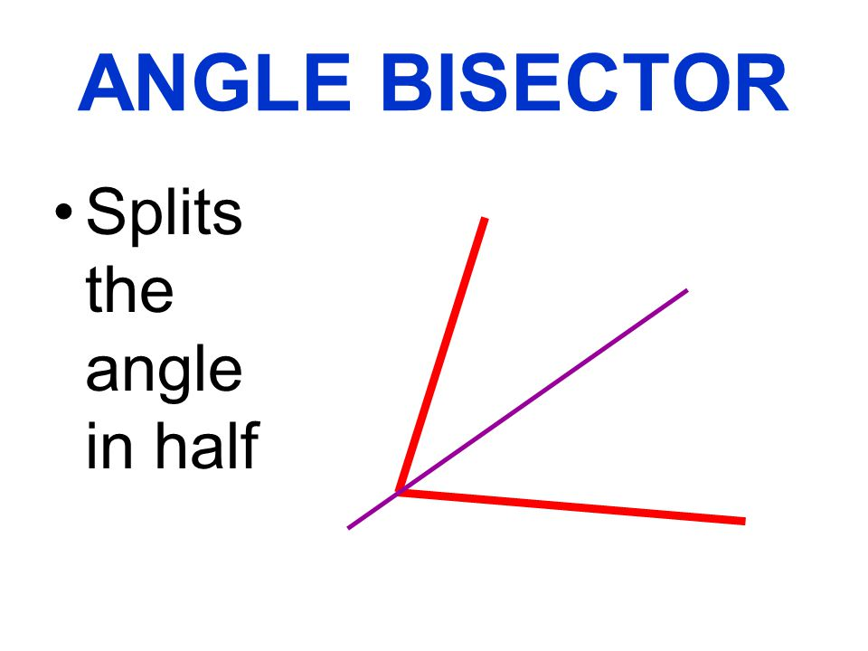 ANGLE BISECTOR Splits the angle in half