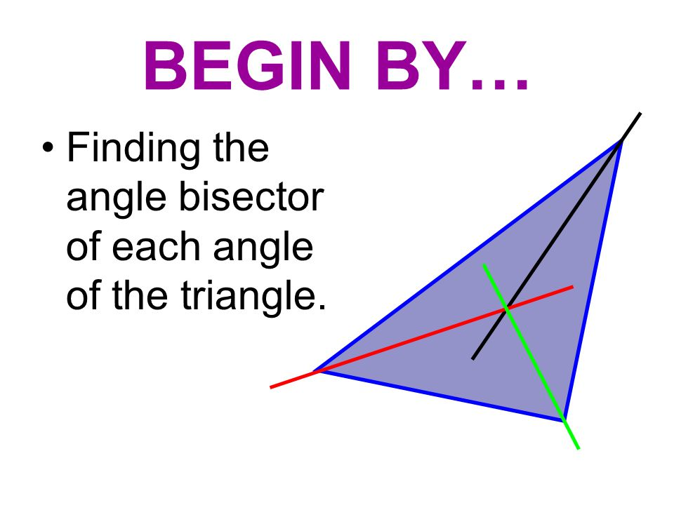 BEGIN BY… Finding the angle bisector of each angle of the triangle.
