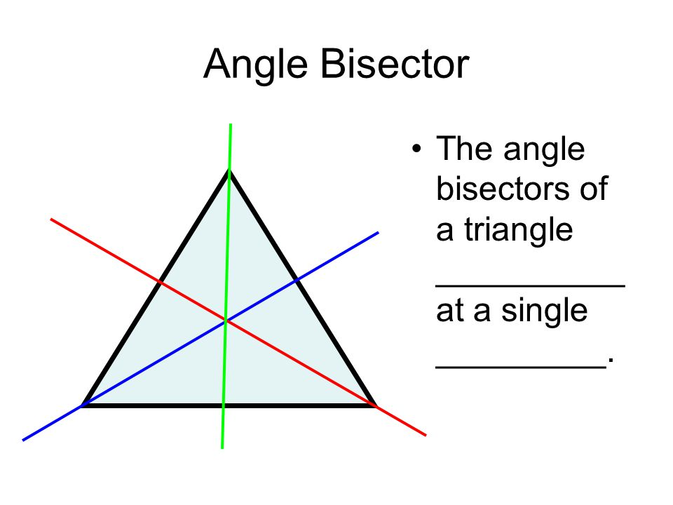 Angle Bisector The angle bisectors of a triangle __________ at a single _________.