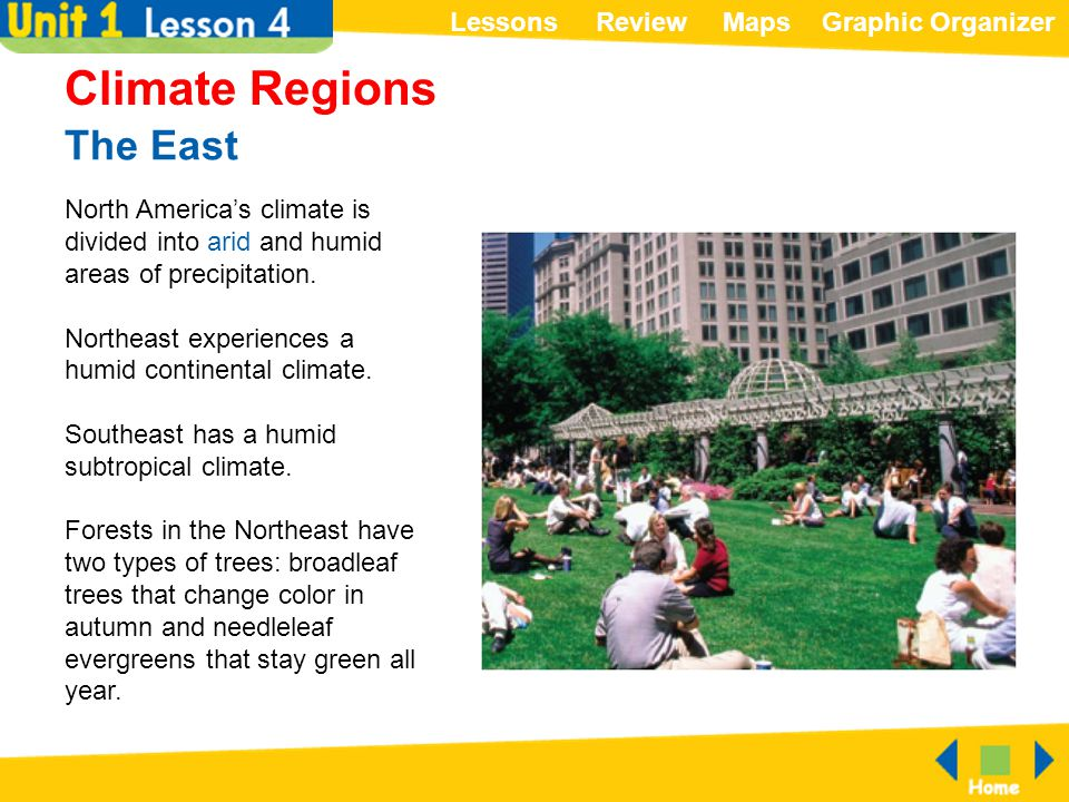 Climate Regions The East