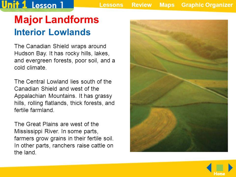 Major Landforms Interior Lowlands