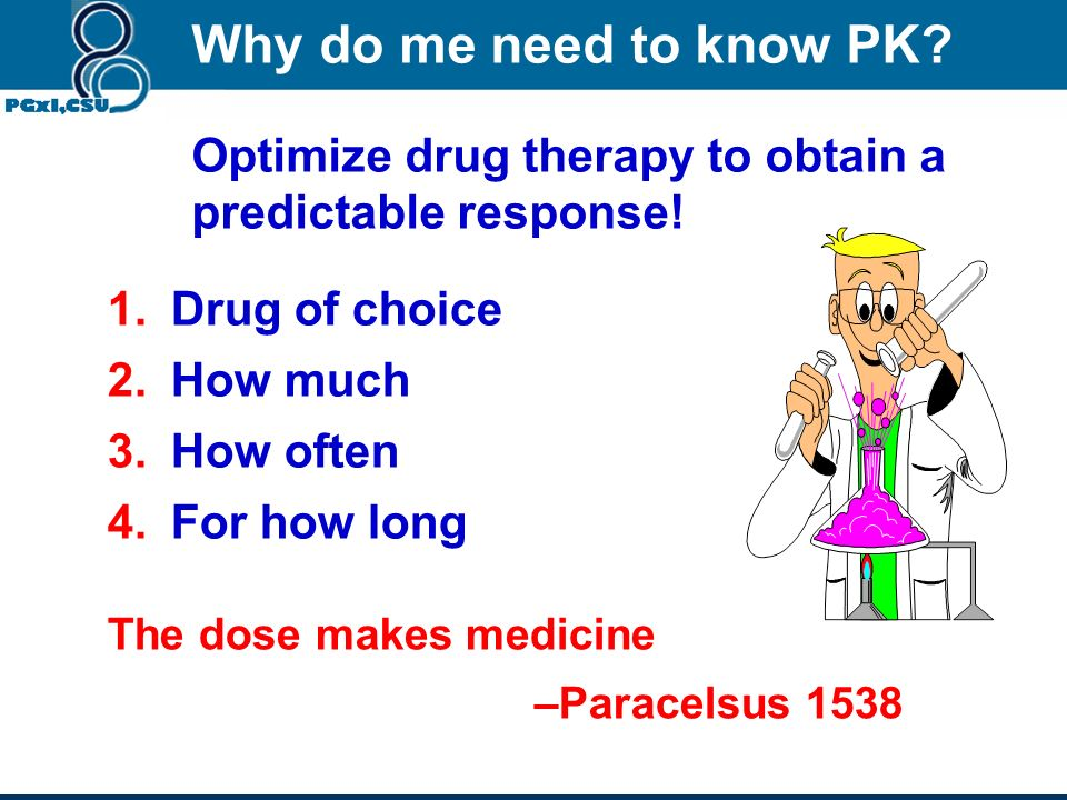 Why do me need to know PK Optimize drug therapy to obtain a