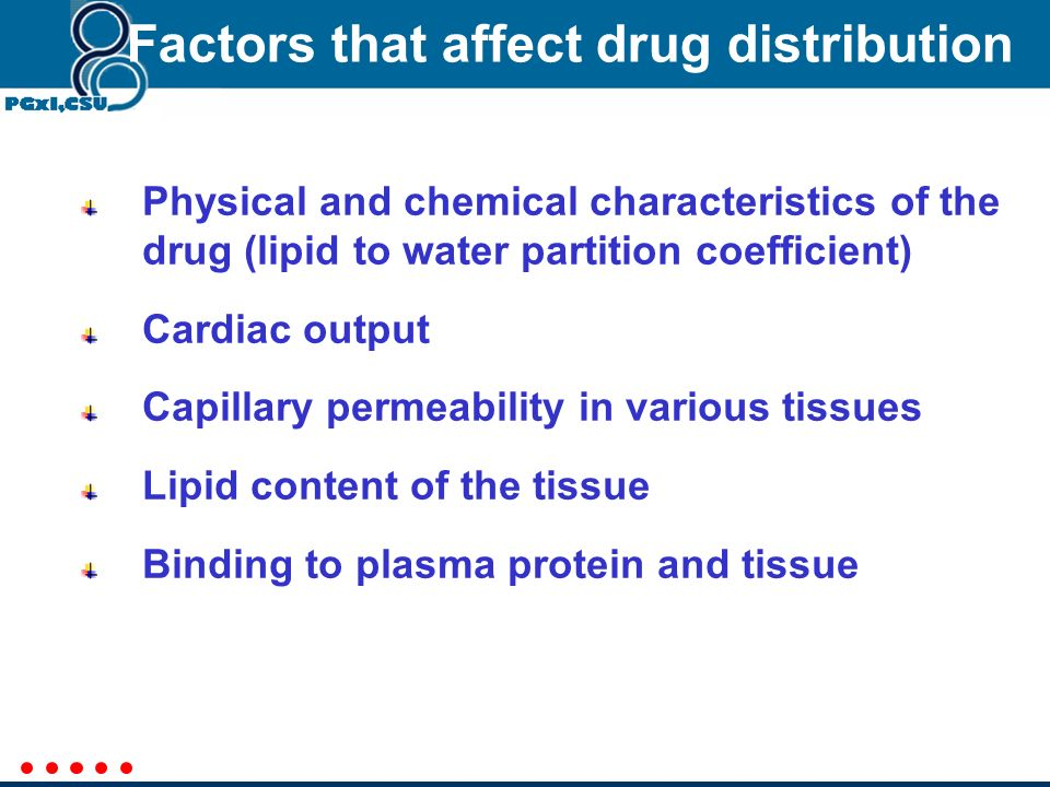 Factors that affect drug distribution