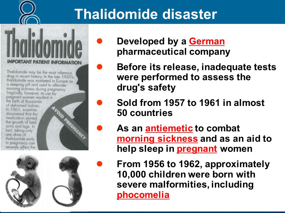 Thalidomide disaster Developed by a German pharmaceutical company