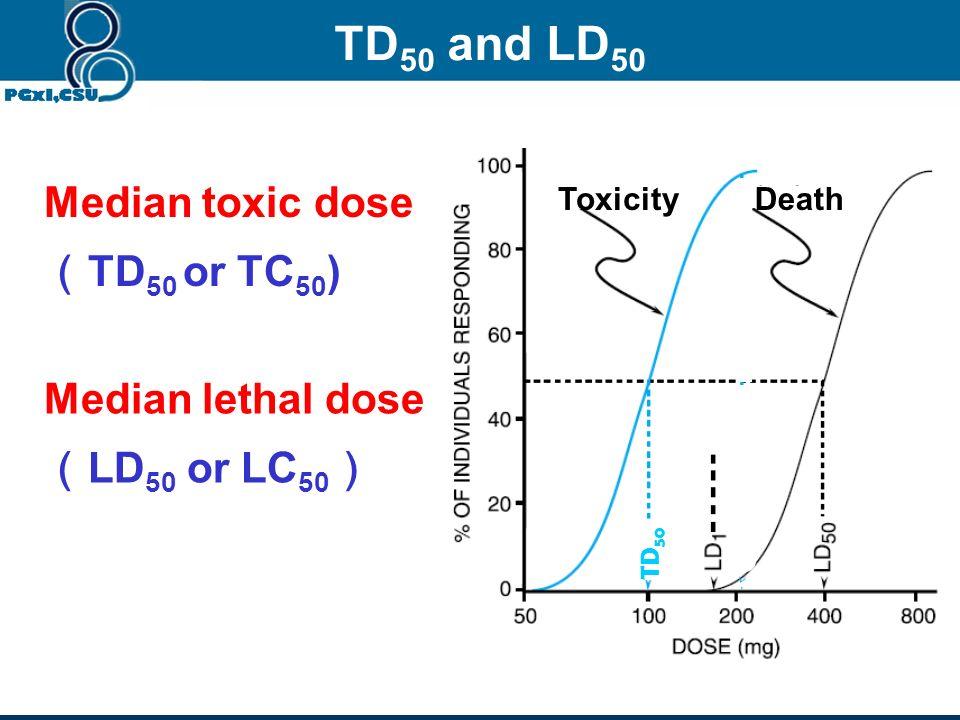 TD50 and LD50 Median toxic dose (TD50 or TC50) Median lethal dose