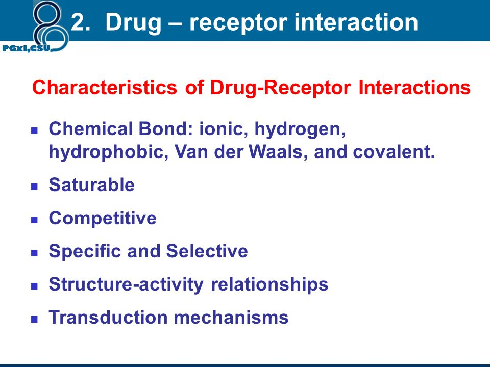 2. Drug – receptor interaction