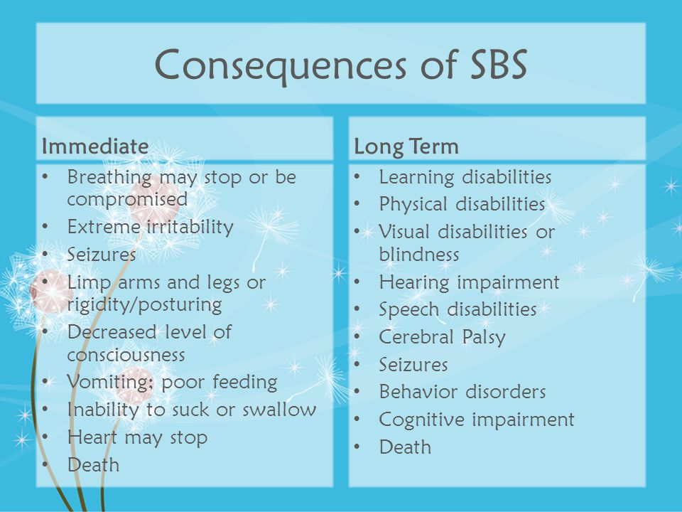 Consequences of SBS Immediate Long Term