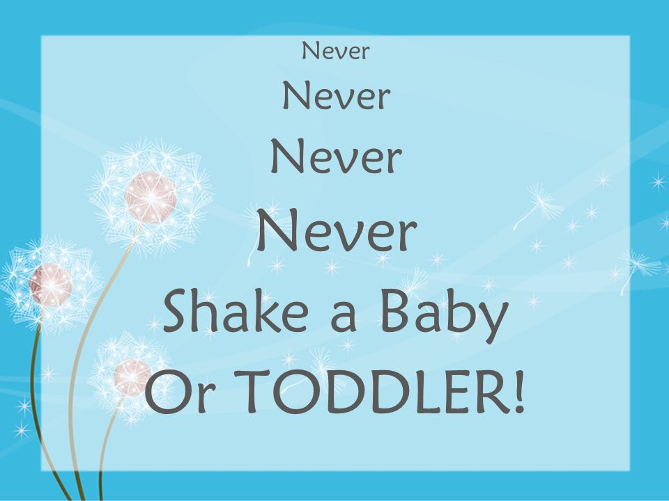 Never Shake a Baby Or TODDLER!