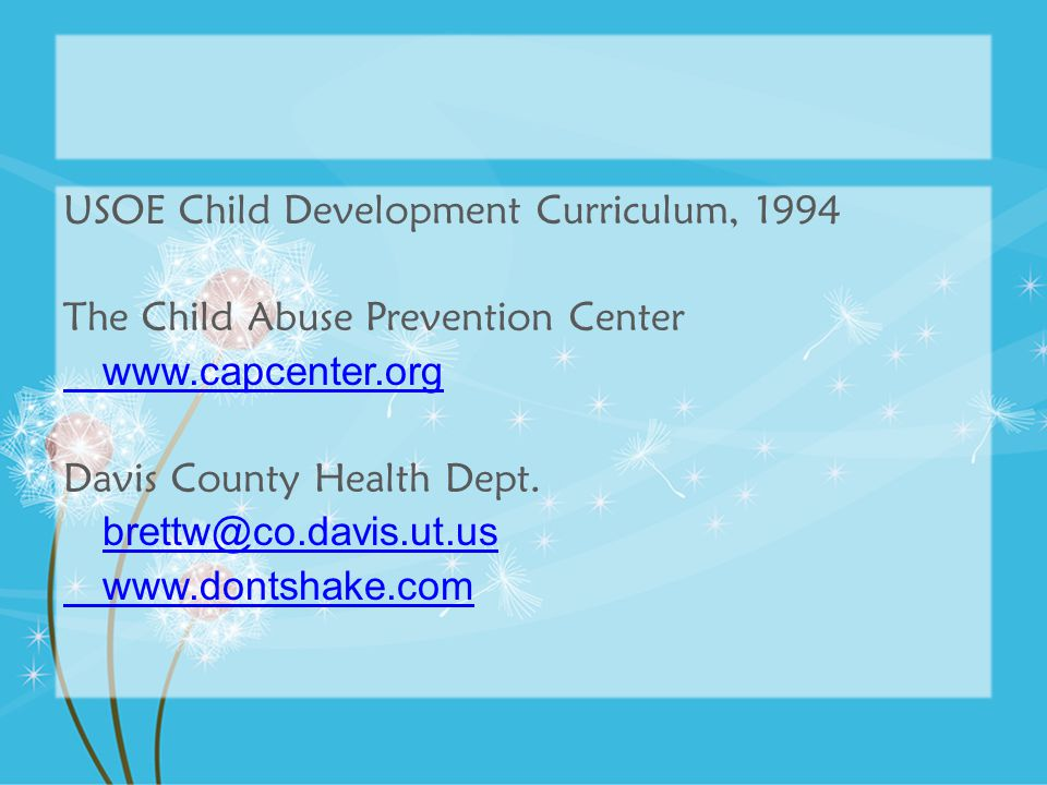 USOE Child Development Curriculum, 1994