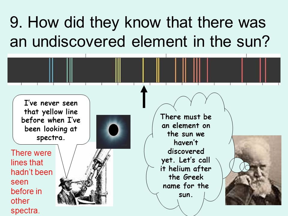 9. How did they know that there was an undiscovered element in the sun