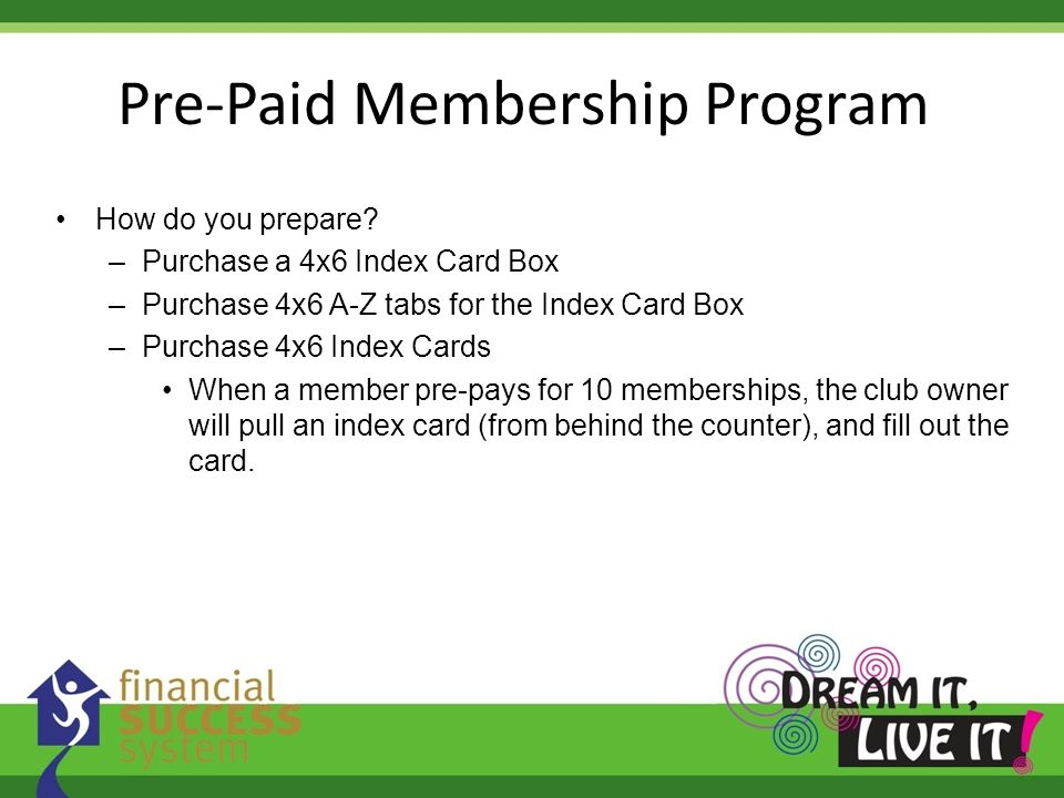 Pre-Paid Membership Program