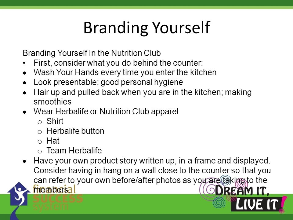 Branding Yourself Branding Yourself In the Nutrition Club