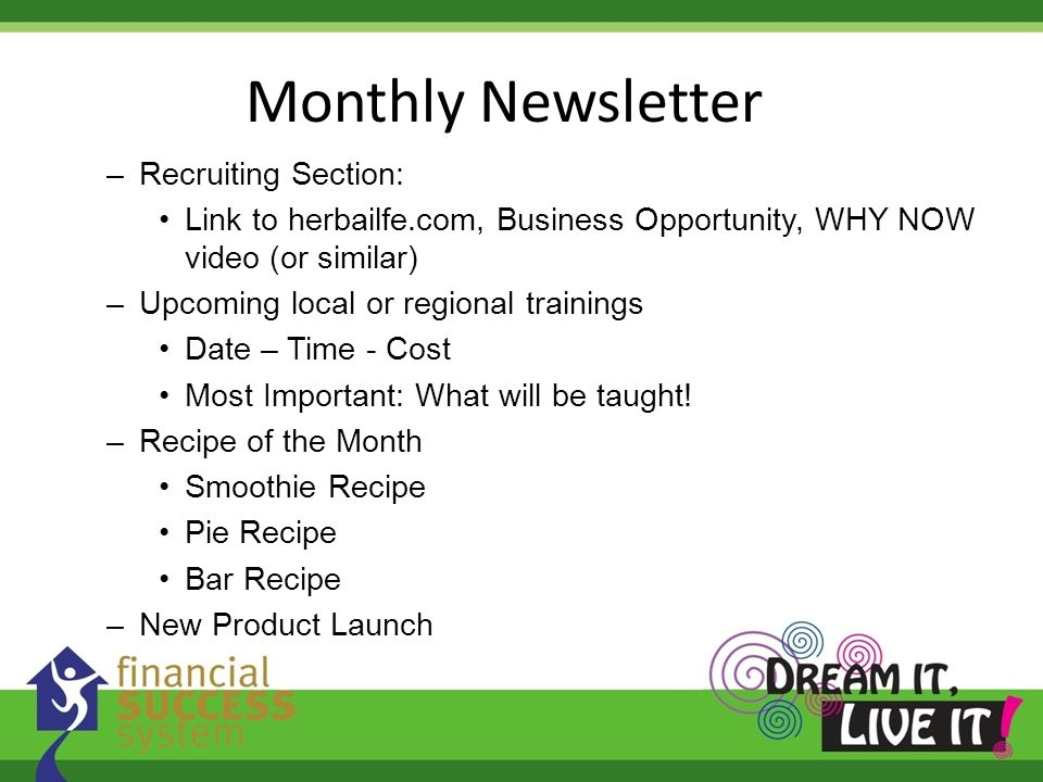 Monthly Newsletter Recruiting Section: