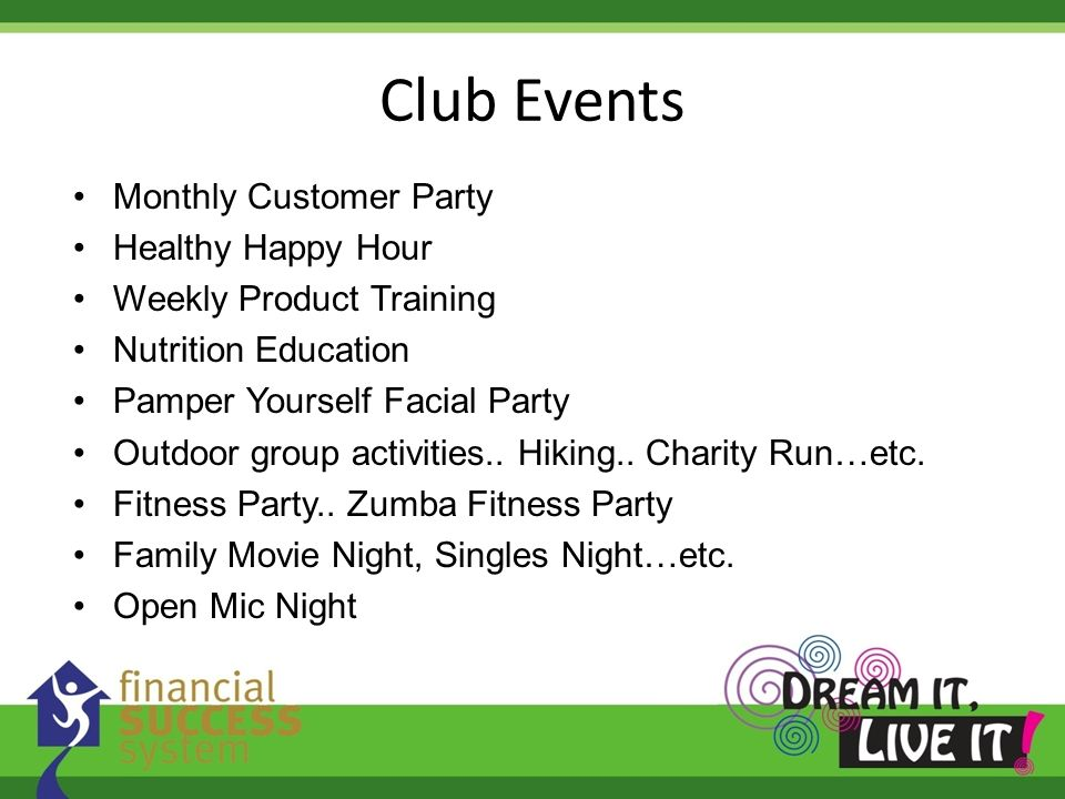 Club Events Monthly Customer Party Healthy Happy Hour