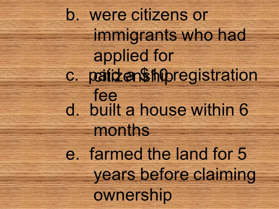 b. were citizens or immigrants who had applied for citizenship