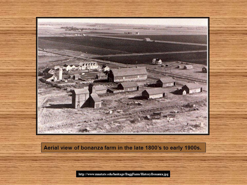 Aerial view of bonanza farm in the late 1800's to early 1900s.